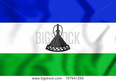 3D Flag Of The Lesotho.