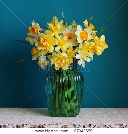 Varietal yellow daffodils in a vase on table with white tablecloth against a blue background.