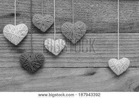 heart shape made from knitting wool on old shabby wooden background Image of Valentine's day