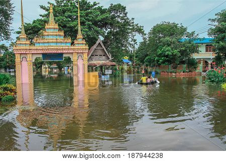 Lopburi Thailand October 22 2011: rain for several days causing flooding streets and public houses.