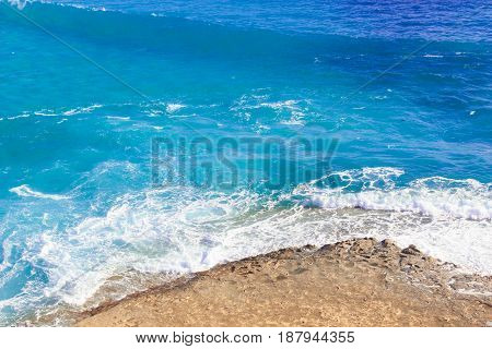Seashore Waves And Mountain Under The Sunshine In Matrouh, Egypt / View Of Beautiful Seashore Waves