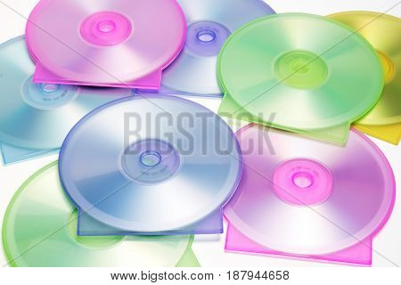 Close Up of Multiple Colorful CD Cases