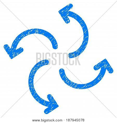 Grunge Cyclone Arrows icon with grunge design and dust texture. Unclean vector blue pictogram for rubber seal stamp imitations and watermarks. Draft sticker symbol.