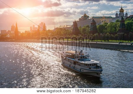 Cruise Ship is sailing along the Moskva River Moscow Russia