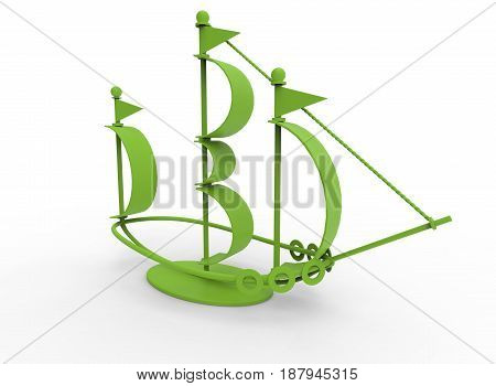 3d illustration of desk decoration boat. white background isolated. icon for game web.