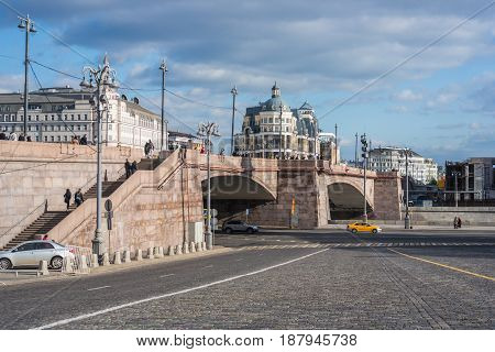 St. Basil's Descent Square and Bolshoy Moskvoretsky Bridge view in Moscow Russia
