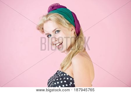 Happy, Pretty Girl With Long, Blond Hair And Hairband Smiling