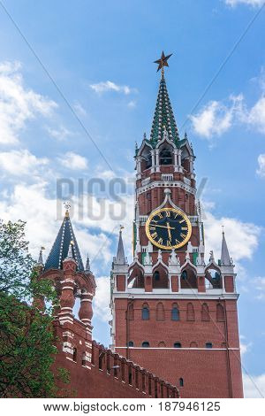 Spasskaya (Saviour) Tower on Red Square Moscow Russia