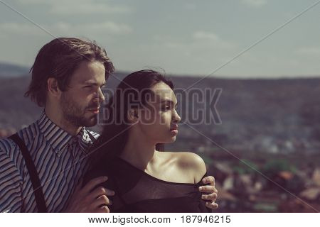Romantic Relationship, Man Hugging Girl On Sunny Day On Mountain