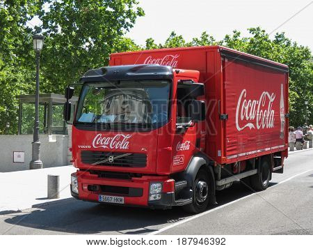 MADRID SPAIN - CIRCA JUNE 2015: Coca Cola van for delivering coke bottles and cans to stores