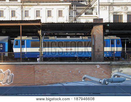 BRNO CZECH REPUBLIC - CIRCA DECEMBER 2011: Skoda Works Eso (ace) class 363 train locomotive at the railway station
