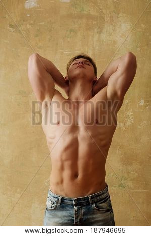 Athlete Man Posing With Strong, Naked Torso