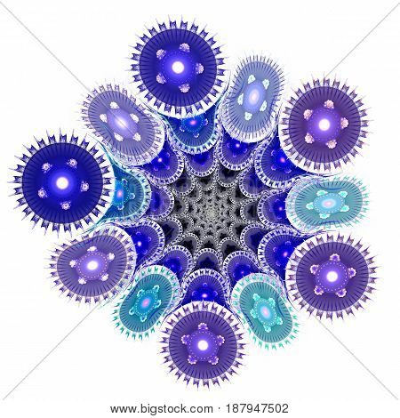 Living cell under microscope. Awesome Microcosm. 3D surreal illustration. Sacred geometry. Mysterious psychedelic relaxation pattern. Fractal abstract texture. Digital artwork graphic astrology magic