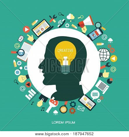 Creative network concept. Silhouette of a man's head with a light bulb that symbolizes an idea. Surrounded by media icons.