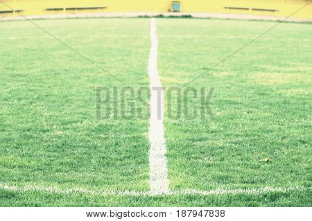 Cross of painted white lines on natural football grass. Artificial green turf texture.