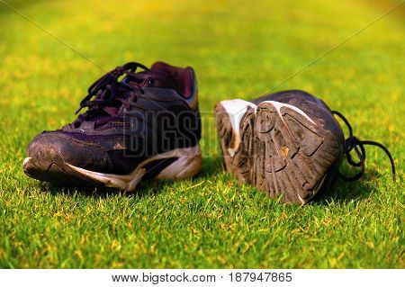 Worn Black And White Running Shoes On Green Grass