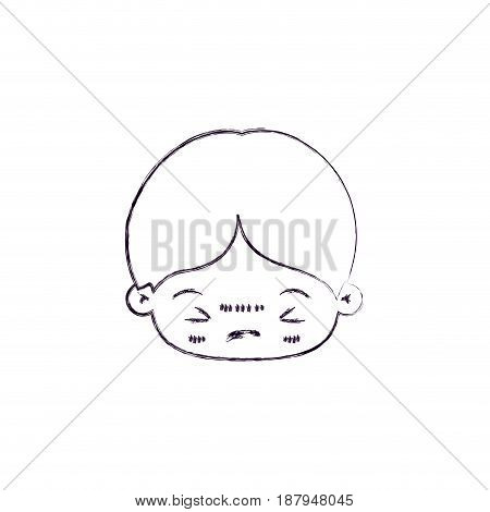 monochrome blurred silhouette of facial expression bored kawaii little boy vector illustration