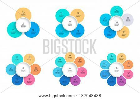 Business infographics. Pie charts with 3, 4, 5, 6, 7, 8 steps, options. Vector infographic templates.