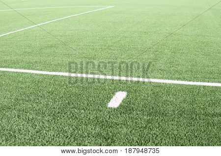 White Lines On Football Playground. Detail Of Lines In A Soccer Field. Plastic Grass And Finely Grou