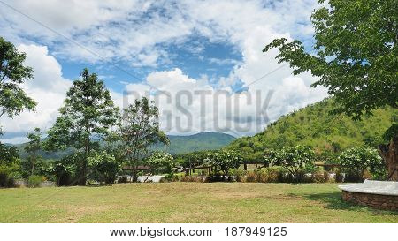 Landscape resort garden around has tree Plumaria flower cloud sky and mountain at Rachaburi province Thailand.