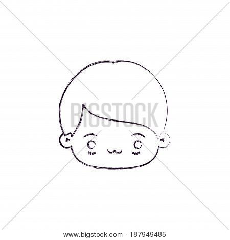 monochrome blurred silhouette of facial expression exhausted kawaii little boy vector illustration