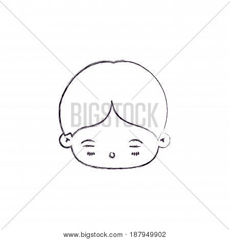 monochrome blurred silhouette of facial expression asleep kawaii little boy vector illustration