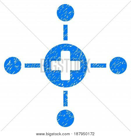 Grunge Medical Center icon with grunge design and dirty texture. Unclean vector blue pictogram for rubber seal stamp imitations and watermarks. Draft sticker symbol.