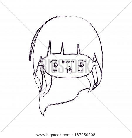 monochrome blurred silhouette of facial expression furious kawaii little girl with long hair vector illustration