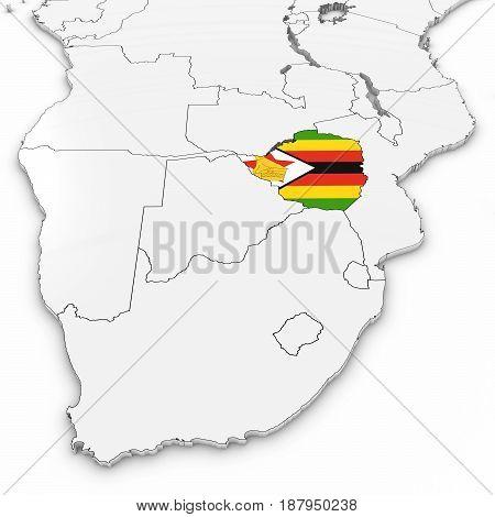 3D Map Of Zimbabwe With Zimbabwean Flag On White Background 3D Illustration