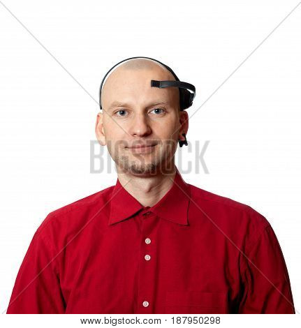 Portrait Of Young Man With Eeg (electroencephalography) Headset On Head