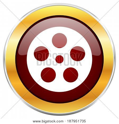 Film red web icon with golden border isolated on white background. Round glossy button.