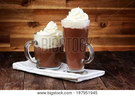 Hot Chocolate Cocoa With Whipped Cream On Vintage Wooden Background, Selective Focus