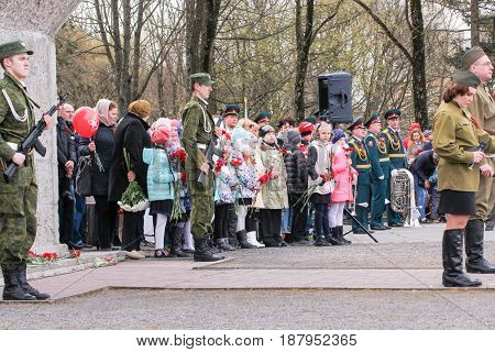 Kirishi, Russia - 9 May, People at the rally, 9 May, 2017. Holding a festive rally dedicated to the Victory Day.