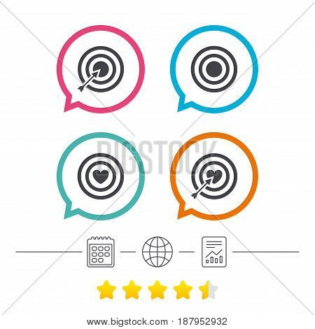 Target aim icons. Darts board with heart and arrow signs symbols. Calendar, internet globe and report linear icons. Star vote ranking. Vector