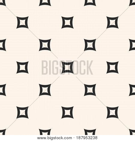 Vector seamless pattern. Simple minimalist monochrome geometric texture with perforated rounded squares & rhombuses. Abstract endless background. Modern design for prints, decoration, textile, web