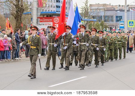 Kirishi, Russia - 9 May, Procession of the group of men, 9 May, 2017. Preparation and conduct of the action Immortal regiment in small cities of Russia.
