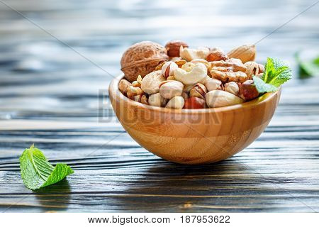 Wooden Bowl With Mixed Nuts
