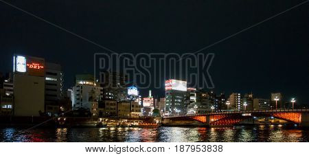 Tokyo Japan - May 3 2017: The red bridge accross Sumida River in Asakusa area.