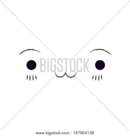monochrome blurred silhouette of facial expression exhausted kawaii vector illustration