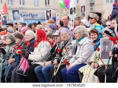 Kirishi, Russia - 9 May, Seated elderly people, 9 May, 2017. Holding a festive rally dedicated to the Victory Day.