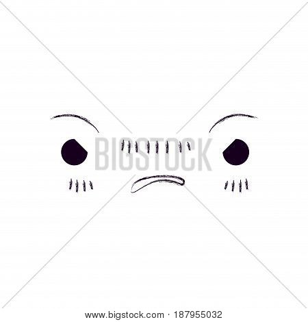 monochrome blurred silhouette of facial expression kawaii furious vector illustration