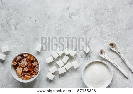 sugar cubes on kitchen stone table background top view mockup