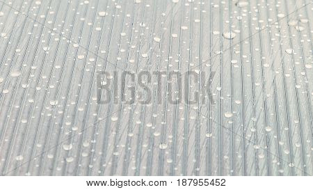 Drops on a striped bright surface. Abstract background with limited depth of field.