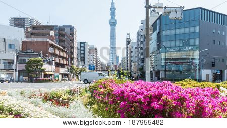 Tokyo Japan - May 2 2017: Road Intersection in Sumida ward that lead to Tokyo Skytree