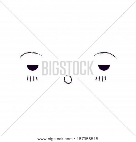 monochrome blurred silhouette of facial expression depressed kawaii vector illustration