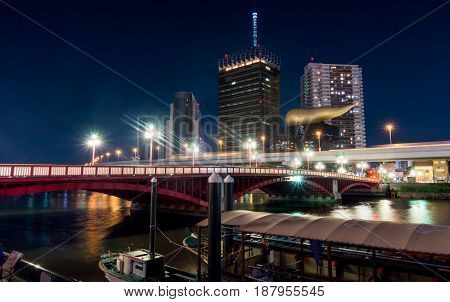 Tokyo Japan - May 2 2017: The red bridge that cross from Asakusa to Sumida area.