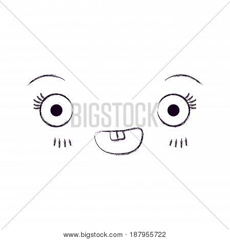 monochrome blurred silhouette of facial expression kawaii smiling vector illustration