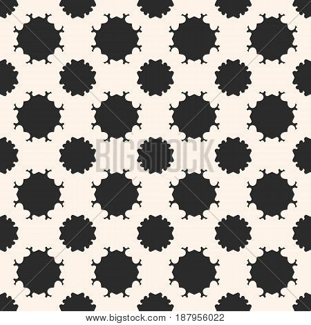 Vector seamless pattern, simple monochrome texture abstract black & white geometric background. Square illustration with rounded floral figures, carved shapes. Design element for prints, decor, web