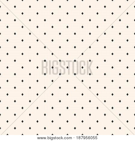 Vector seamless pattern, stylish minimalist geometric texture, small black rhombuses on white background. Abstract minimal geometrical design for print, textile, cover, digital web cover, decor