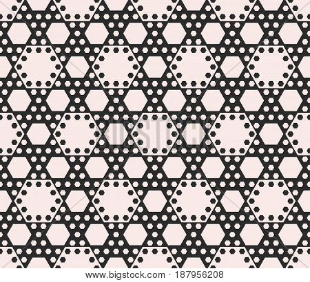 Vector geometric seamless pattern black & white abstract background with different sized hexagons. Perforated hexagonal structure. Monochrome texture repeat tiles. Design for prints, decor, cloth